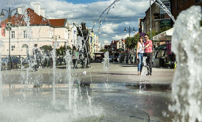 Dancing, colourful fountain