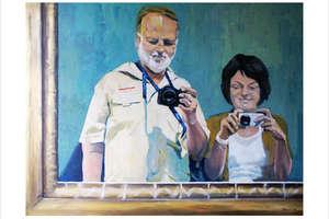Wernisaż - Anna i Jacek Albrecht z córkami - malarstwo