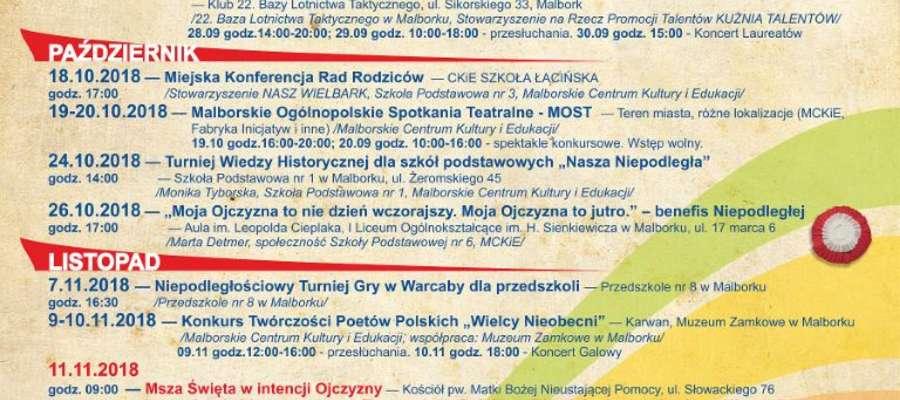 Kalendarium malborskich obchodów 100. Rocznicy Odzyskania Niepodległości przez Polskę