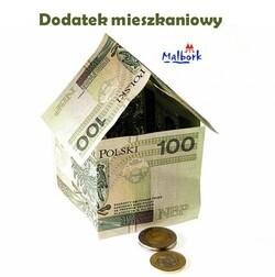 grafika z domkiem z banknotów i napisem dodatek mieszkaniowy