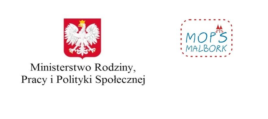Logotypy: Ministerstwo Rodziny, Pracy i Polityki Społecznej oraz MOPS Malbork