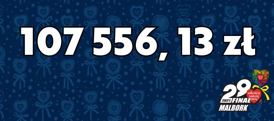 107 556,13 zł kwota zebrana do 31.01.2021 w ramach 29. Finału WOŚP