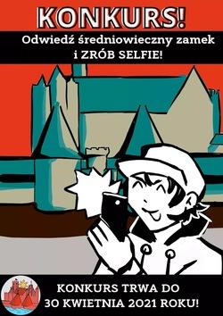 plakat z rysunkiem chłopca robiącego zdjęcie telefonem na tle zamku, zaproszenie do konkursu i termin