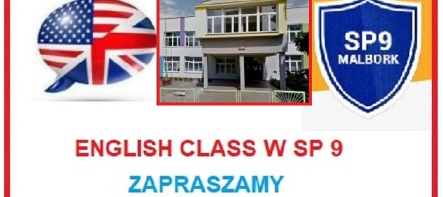 budynek szkoły, tarcza szkoły, flaga i napis English class w SP 9. Zapraszamy