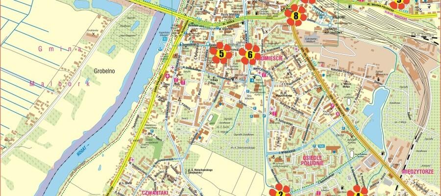 mapa z lokalizacjami łąk kwietnych w Malborku