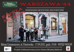 plakat z informacjami o koncercie i zdjęciem zespołu